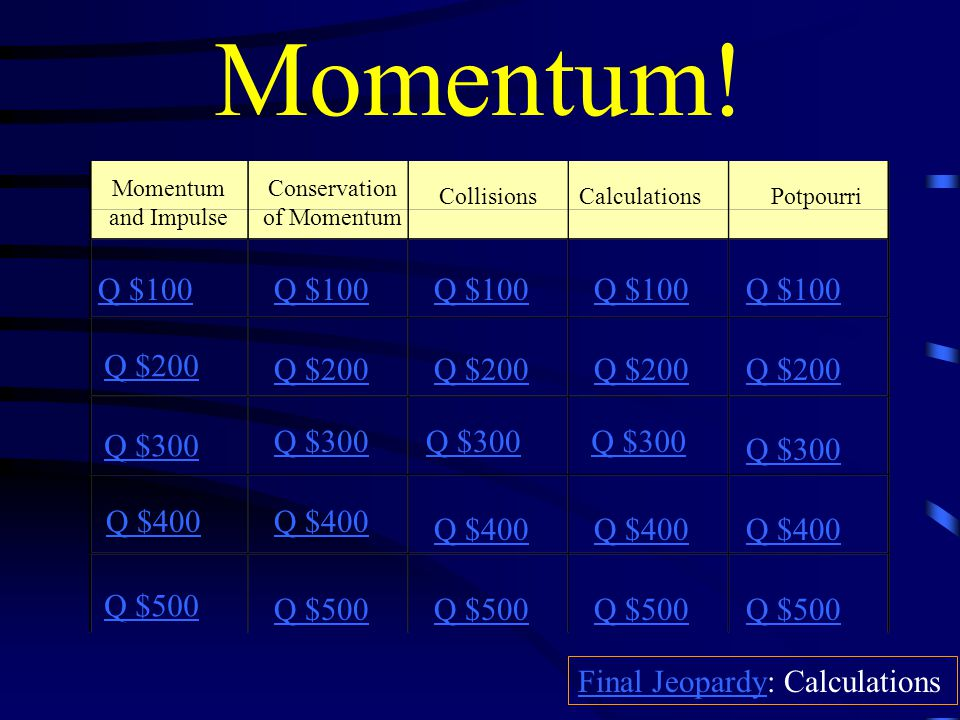 Momentum Concept Review There will be 60 seconds to answer each question from the time I am done reading unless otherwise noted. Correct answers will