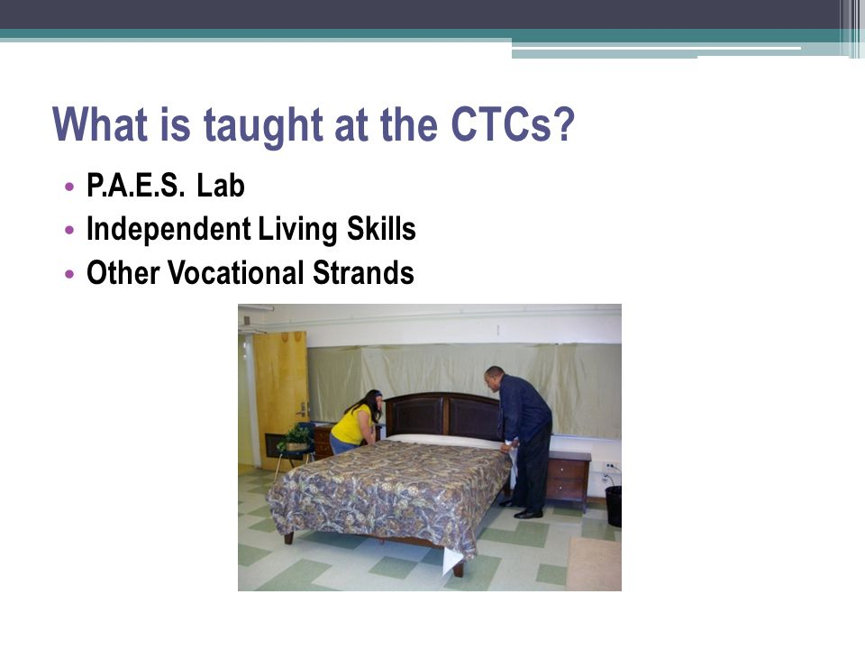 What is taught at the CTCs? P.A.E.S. Lab Independent Living Skills Other Vocational Strands