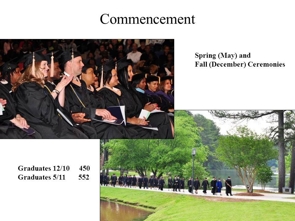 Commencement Spring (May) and Fall (December) Ceremonies Graduates 12/10 450 Graduates 5/11 552