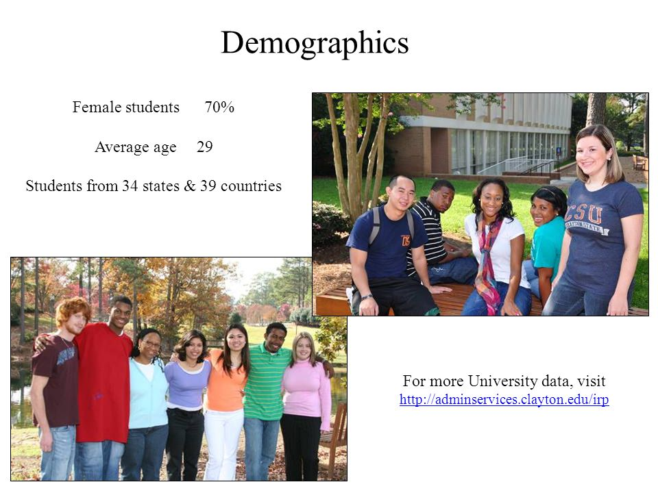 Demographics Female students70% Average age 29 Students from 34 states & 39 countries For more University data, visit http://adminservices.clayton.edu/irp