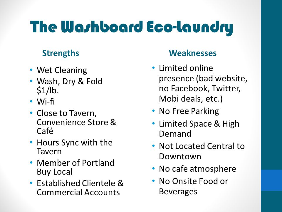 The Washboard Eco-Laundry Strengths Wet Cleaning Wash, Dry & Fold $1/lb. Wi-fi Close to Tavern, Convenience Store & Café Hours Sync with the Tavern Me