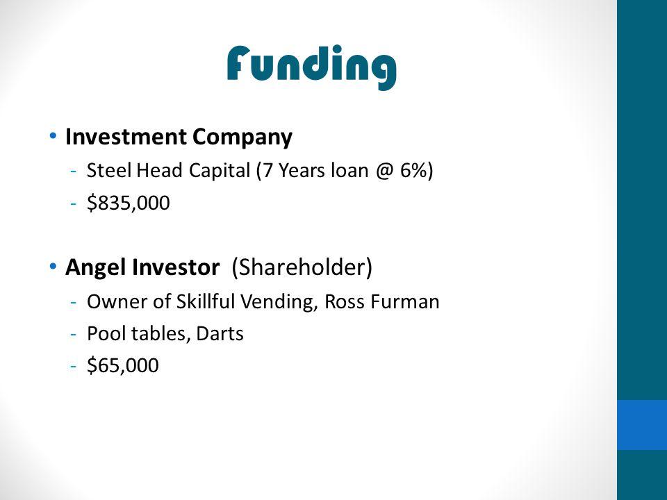Funding Investment Company -Steel Head Capital (7 Years loan @ 6%) -$835,000 Angel Investor (Shareholder) -Owner of Skillful Vending, Ross Furman -Poo