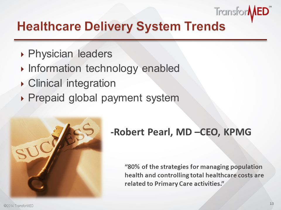  2014 TransforMED  Physician leaders  Information technology enabled  Clinical integration  Prepaid global payment system 13 -Robert Pearl, MD –CEO, KPMG 80% of the strategies for managing population health and controlling total healthcare costs are related to Primary Care activities.