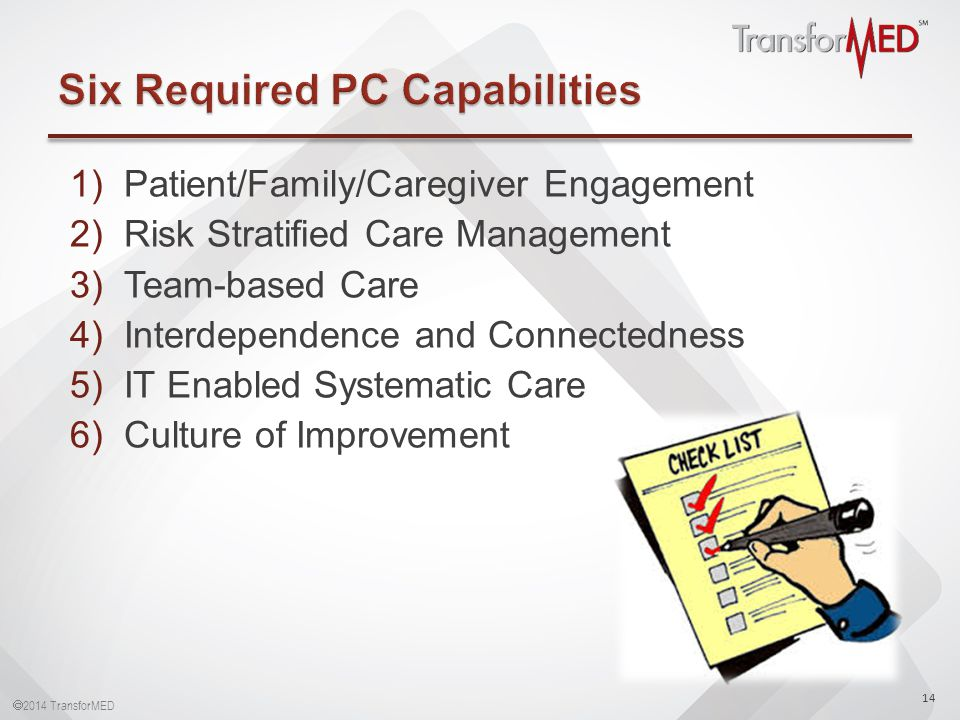  2014 TransforMED 1)Patient/Family/Caregiver Engagement 2)Risk Stratified Care Management 3)Team-based Care 4)Interdependence and Connectedness 5)IT Enabled Systematic Care 6)Culture of Improvement 14