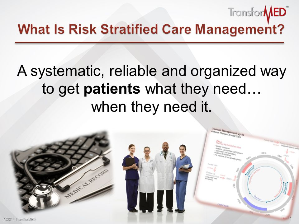  2014 TransforMED 17 A systematic, reliable and organized way to get patients what they need… when they need it.