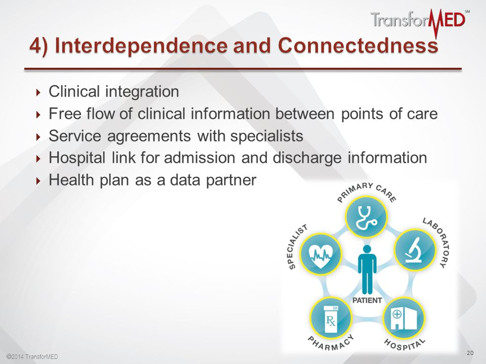  2014 TransforMED  Clinical integration  Free flow of clinical information between points of care  Service agreements with specialists  Hospital link for admission and discharge information  Health plan as a data partner 20