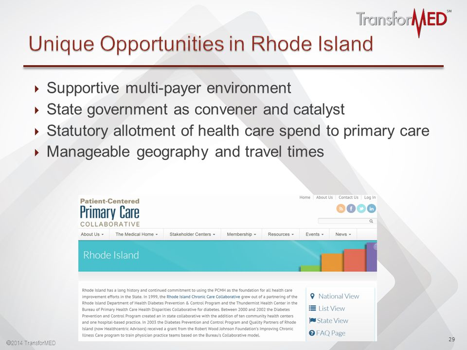  2014 TransforMED  Supportive multi-payer environment  State government as convener and catalyst  Statutory allotment of health care spend to primary care  Manageable geography and travel times 29