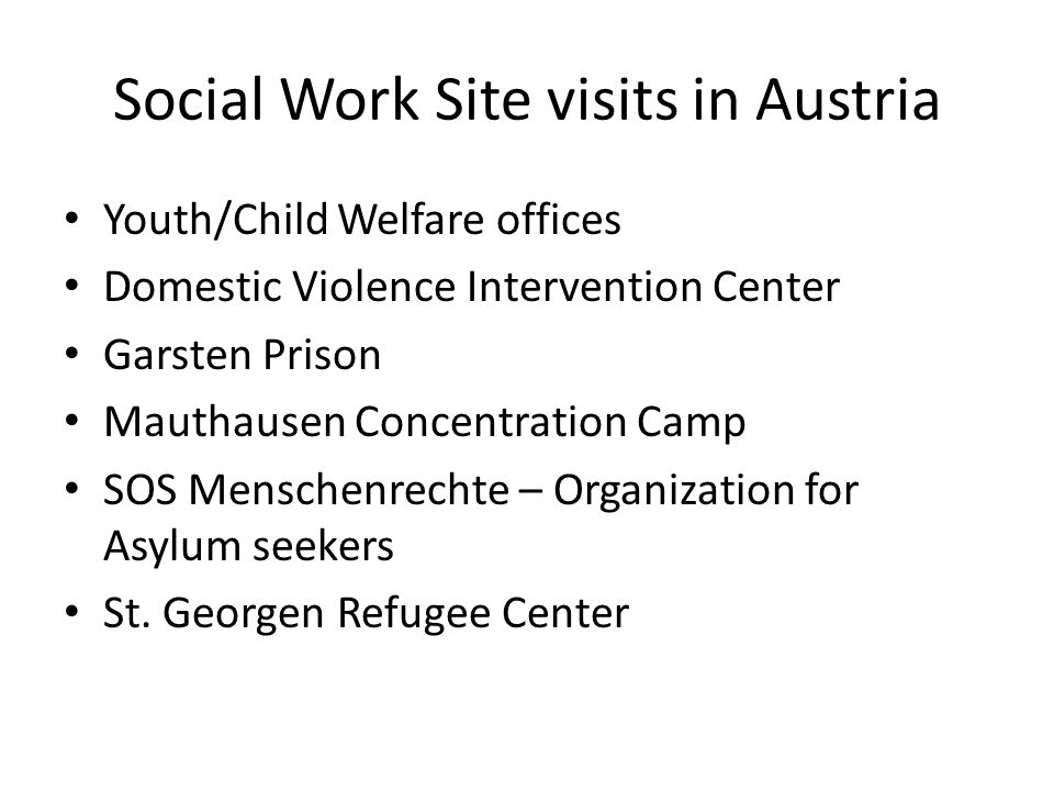 Social Work Site visits in Austria Youth/Child Welfare offices Domestic Violence Intervention Center Garsten Prison Mauthausen Concentration Camp SOS Menschenrechte – Organization for Asylum seekers St.
