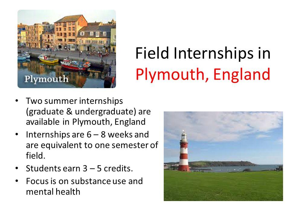 Field Internships in Plymouth, England Two summer internships (graduate & undergraduate) are available in Plymouth, England Internships are 6 – 8 week