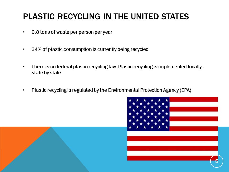 PLASTIC RECYCLING IN THE UNITED STATES 0.8 tons of waste per person per year 34% of plastic consumption is currently being recycled There is no federa