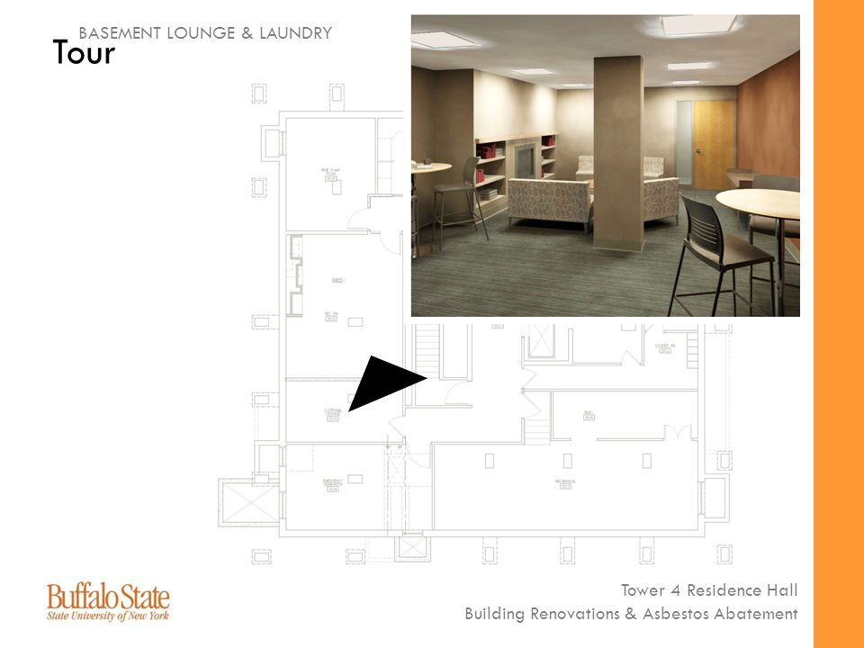 Tower 4 Residence Hall Building Renovations & Asbestos Abatement Tour BASEMENT LOUNGE & LAUNDRY