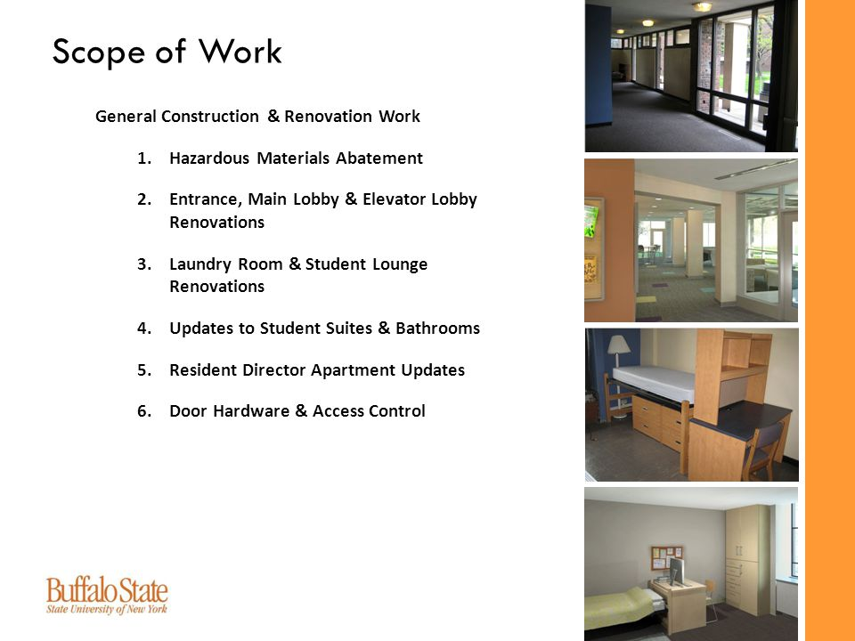 Energy Efficiency & Infrastructure Improvements 1.Window Replacement 2.Mechanical (HVAC) System Upgrades 3.Electrical System & Lighting Upgrades 4.Improved Technology Access 5.Sprinkler System Installation Scope of Work