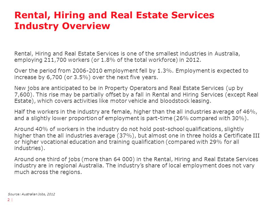 Rental, Hiring and Real Estate Services Industry Overview Rental, Hiring and Real Estate Services is one of the smallest industries in Australia, empl