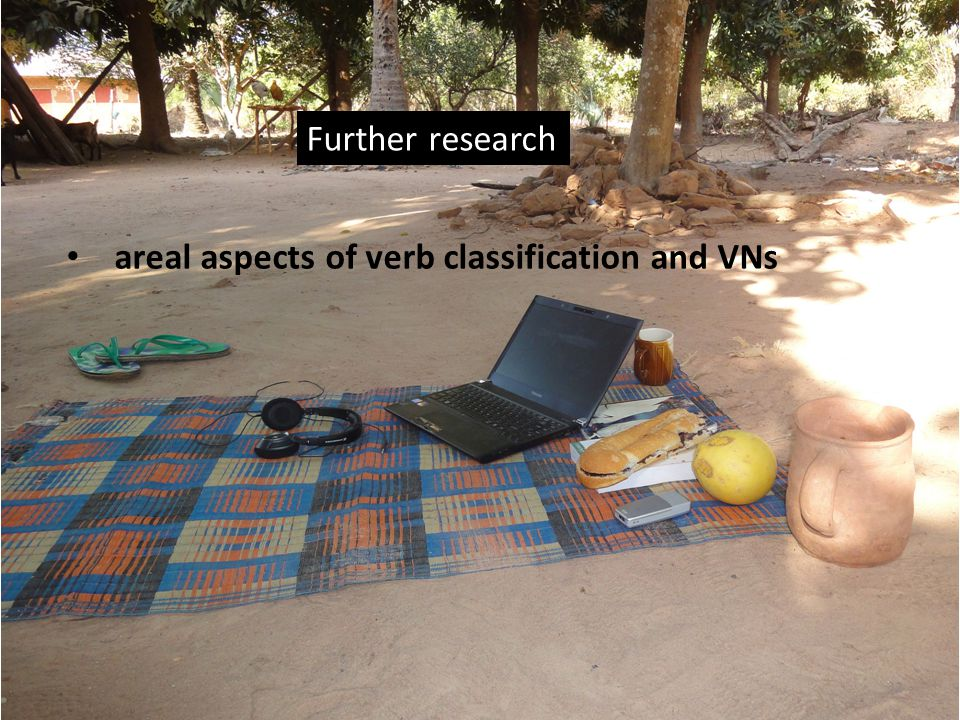 Further research areal aspects of verb classification and VNs 32