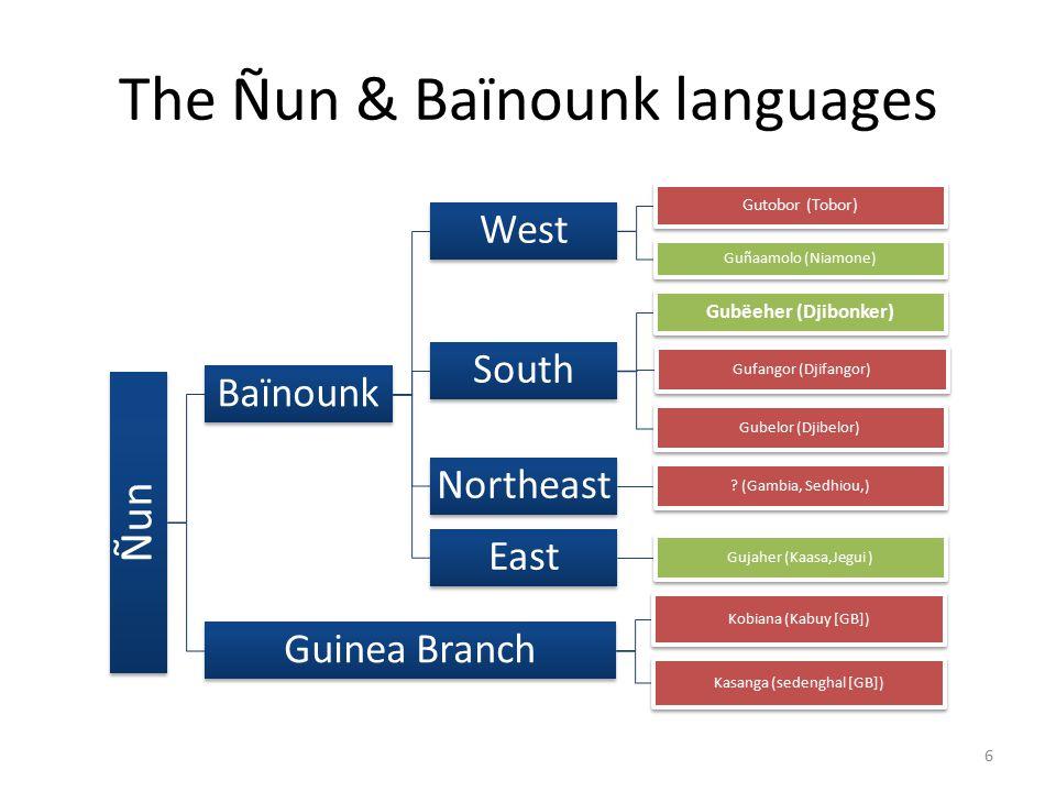 The Ñun & Baïnounk languages Ñun Baïnounk West Gutobor (Tobor) Guñaamolo (Niamone) South Gubëeher (Djibonker) Gufangor (Djifangor) Gubelor (Djibelor) Northeast .