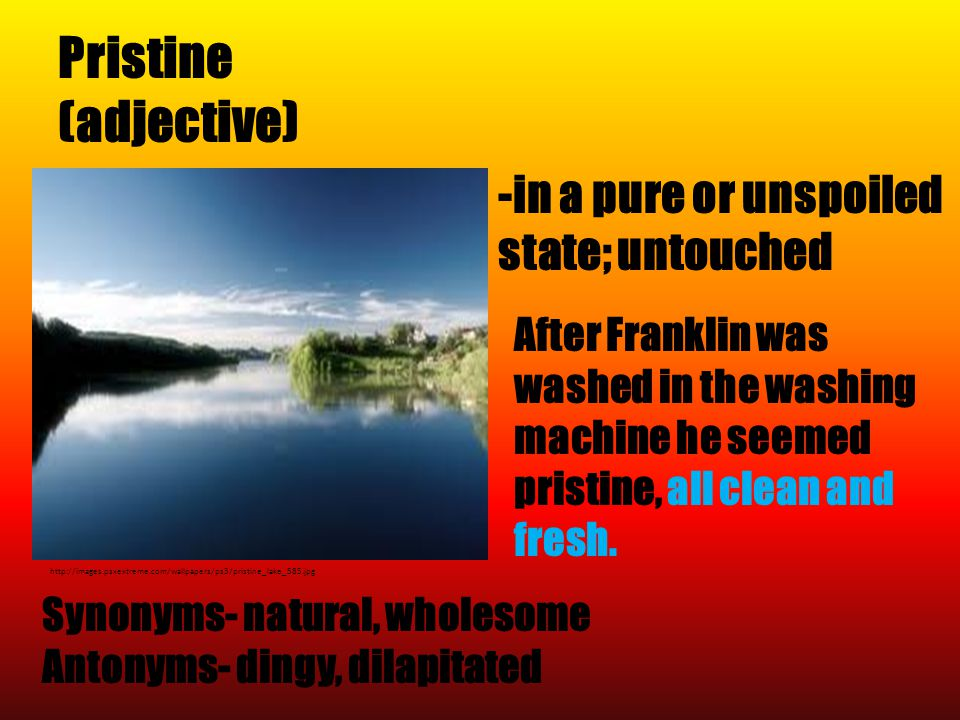Pristine (adjective) http://images.psxextreme.com/wallpapers/ps3/pristine_lake_585.jpg Synonyms- natural, wholesome Antonyms- dingy, dilapitated -in a pure or unspoiled state; untouched After Franklin was washed in the washing machine he seemed pristine, all clean and fresh.