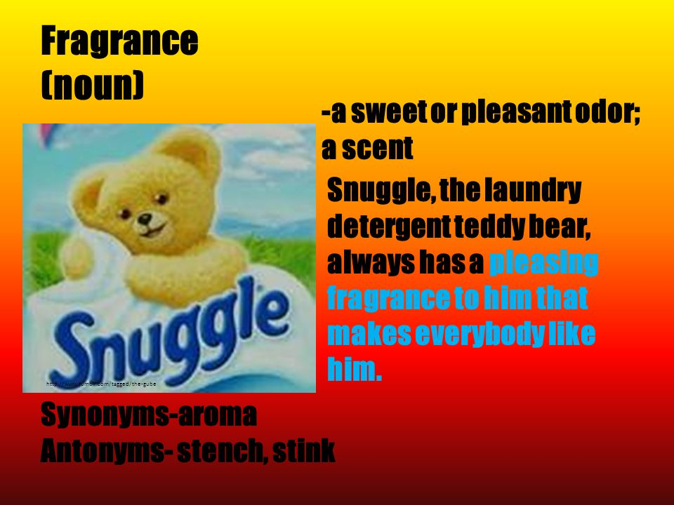 Fragrance (noun) http://www.tumblr.com/tagged/the-gube Synonyms-aroma Antonyms- stench, stink -a sweet or pleasant odor; a scent Snuggle, the laundry detergent teddy bear, always has a pleasing fragrance to him that makes everybody like him.