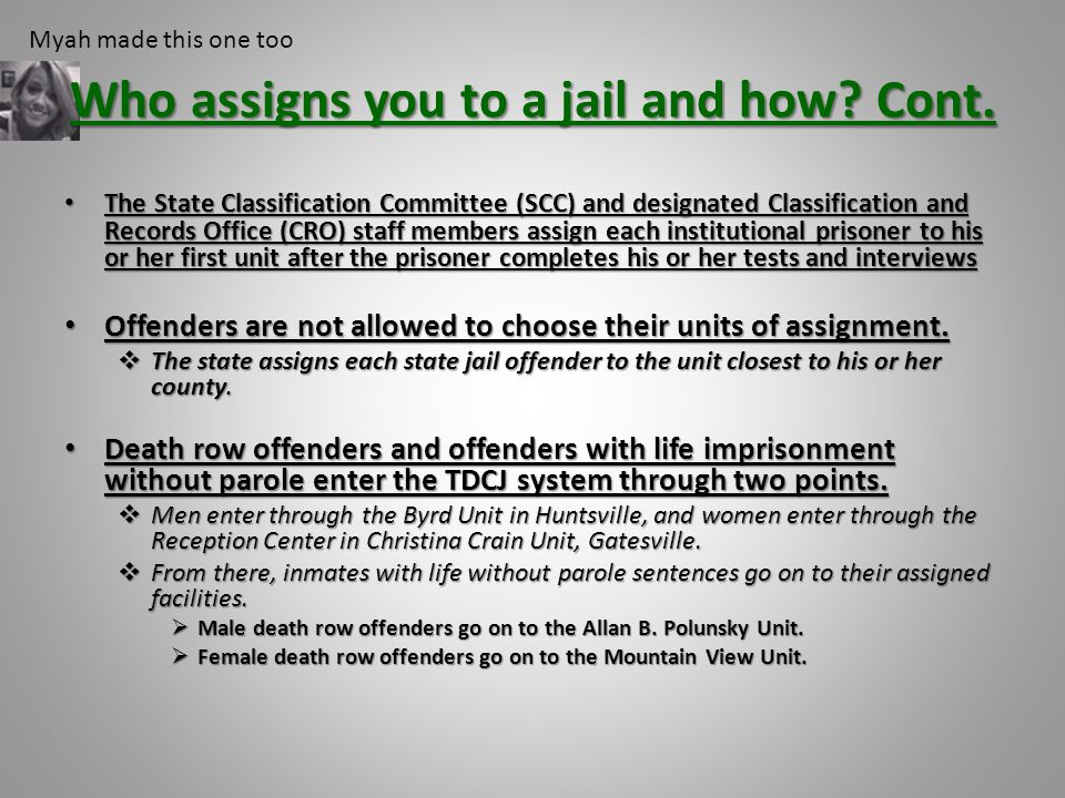 Who assigns you to a jail and how? Cont. The State Classification Committee (SCC) and designated Classification and Records Office (CRO) staff members
