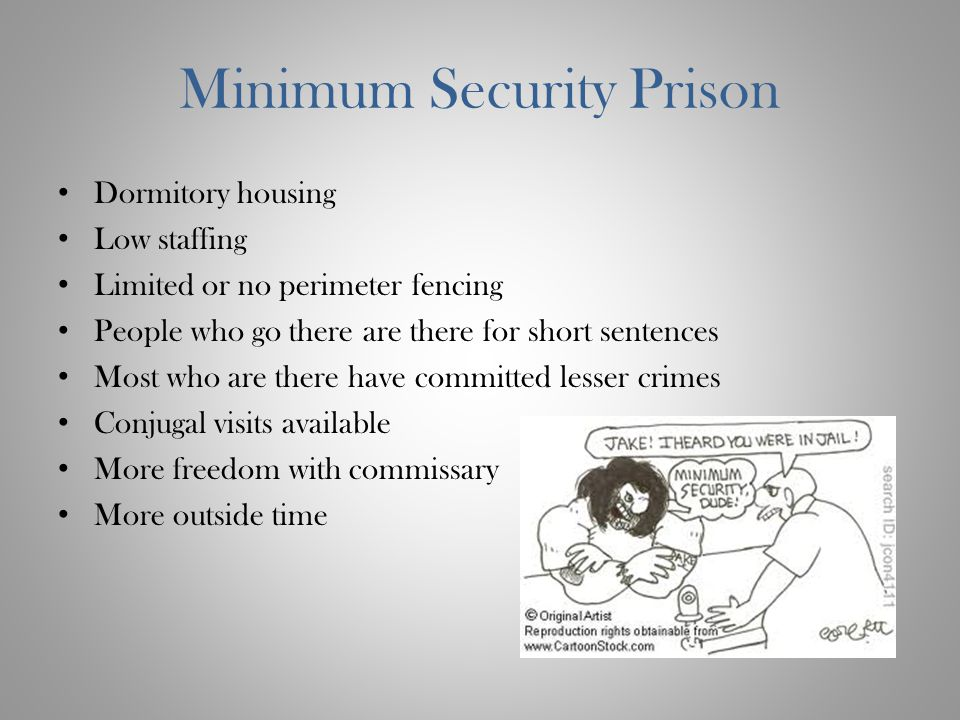 Minimum Security Prison Dormitory housing Low staffing Limited or no perimeter fencing People who go there are there for short sentences Most who are