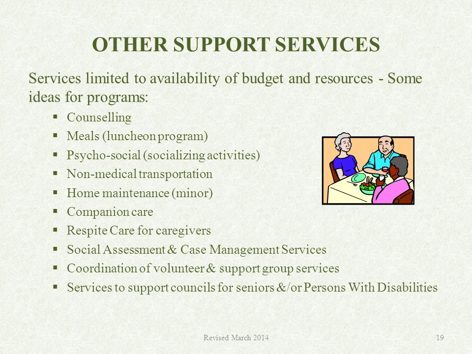 OTHER SUPPORT SERVICES Services limited to availability of budget and resources - Some ideas for programs:  Counselling  Meals (luncheon program)  Psycho-social (socializing activities)  Non-medical transportation  Home maintenance (minor)  Companion care  Respite Care for caregivers  Social Assessment & Case Management Services  Coordination of volunteer & support group services  Services to support councils for seniors &/or Persons With Disabilities Revised March 201419