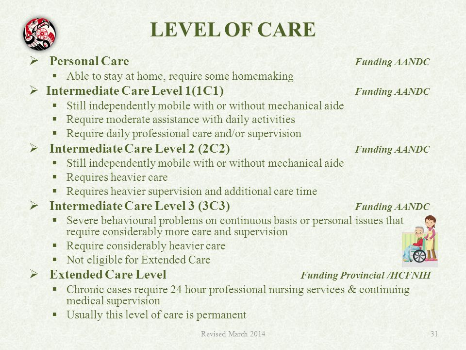 LEVEL OF CARE  Personal Care Funding AANDC  Able to stay at home, require some homemaking  Intermediate Care Level 1(1C1) Funding AANDC  Still independently mobile with or without mechanical aide  Require moderate assistance with daily activities  Require daily professional care and/or supervision  Intermediate Care Level 2 (2C2) Funding AANDC  Still independently mobile with or without mechanical aide  Requires heavier care  Requires heavier supervision and additional care time  Intermediate Care Level 3 (3C3) Funding AANDC  Severe behavioural problems on continuous basis or personal issues that require considerably more care and supervision  Require considerably heavier care  Not eligible for Extended Care  Extended Care Level Funding Provincial /HCFNIH  Chronic cases require 24 hour professional nursing services & continuing medical supervision  Usually this level of care is permanent Revised March 201431
