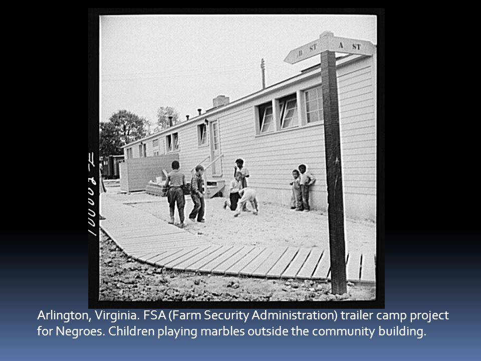 Arlington, Virginia. FSA (Farm Security Administration) trailer camp project for Negroes.