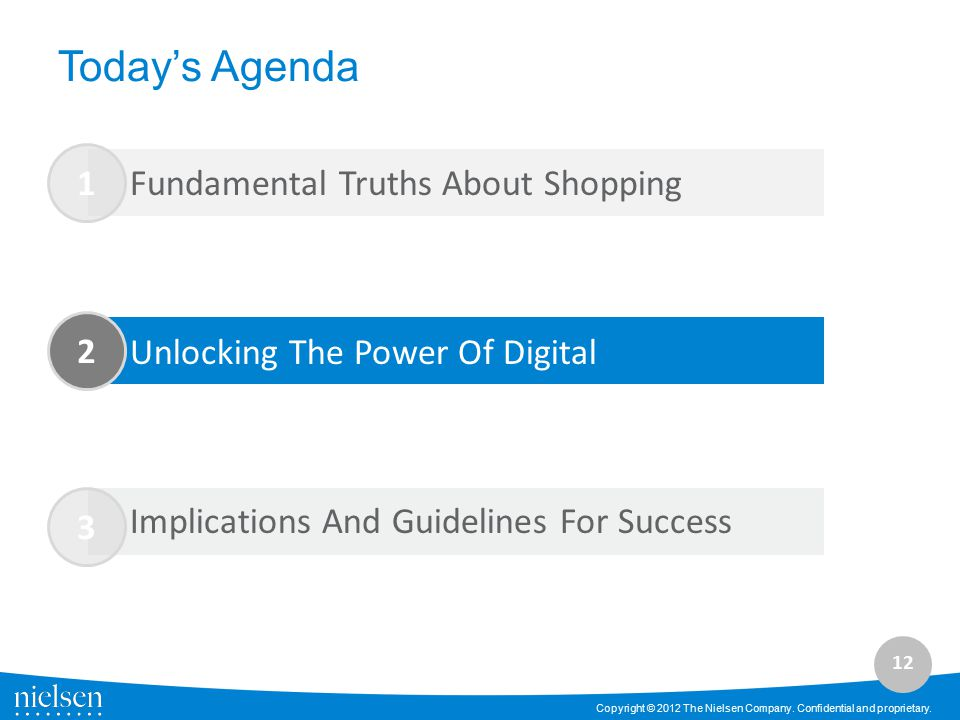 12 Copyright © 2012 The Nielsen Company. Confidential and proprietary. 3 Today's Agenda 1 2 Fundamental Truths About Shopping Unlocking The Power Of D