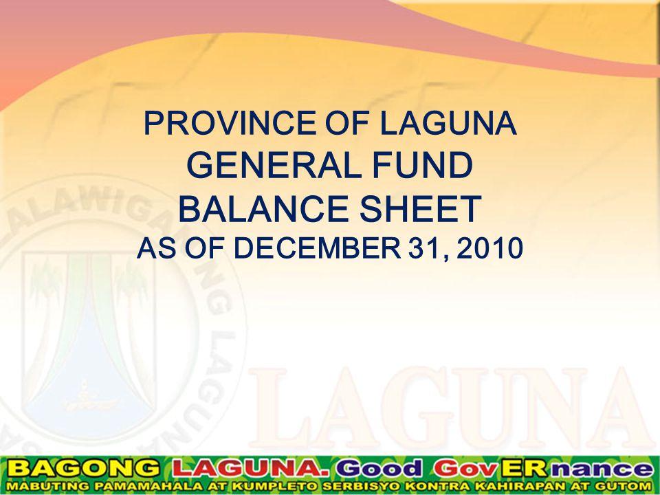 PROVINCE OF LAGUNA GENERAL FUND BALANCE SHEET AS OF DECEMBER 31, 2010