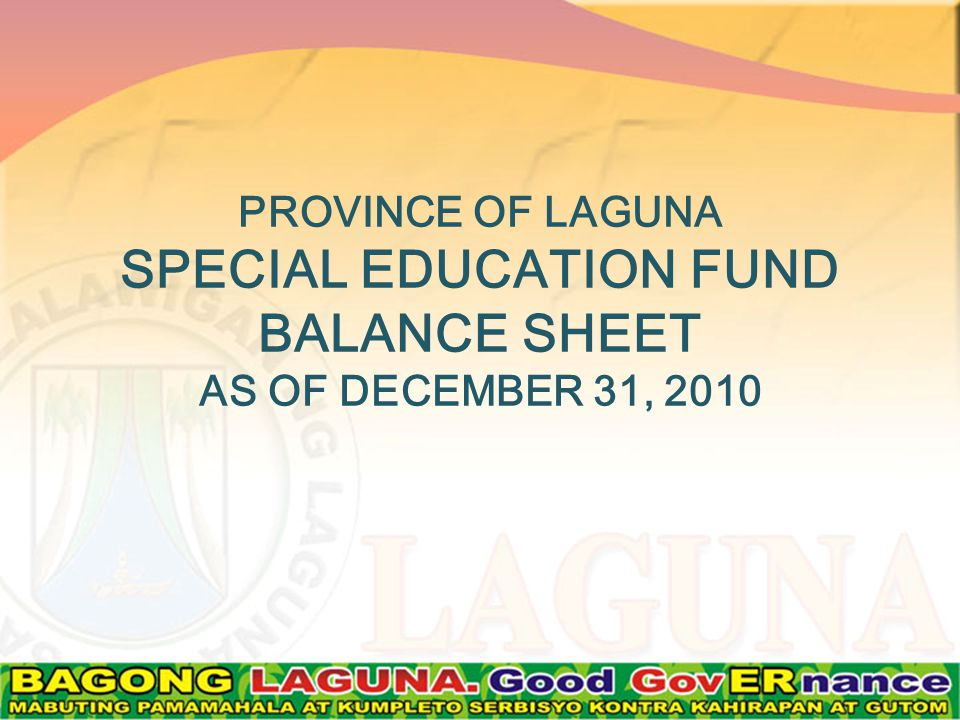 PROVINCE OF LAGUNA SPECIAL EDUCATION FUND BALANCE SHEET AS OF DECEMBER 31, 2010