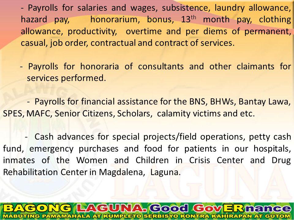 Disbursement vouchers for release of loans.