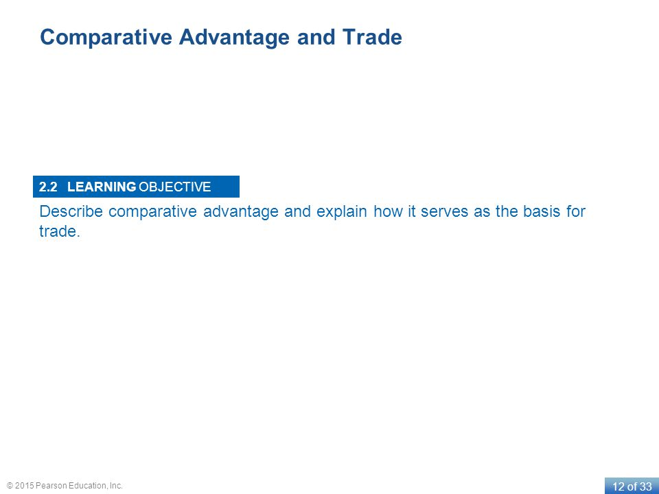 LEARNING OBJECTIVE 12 of 33 © 2015 Pearson Education, Inc. Comparative Advantage and Trade 2.2 Describe comparative advantage and explain how it serve