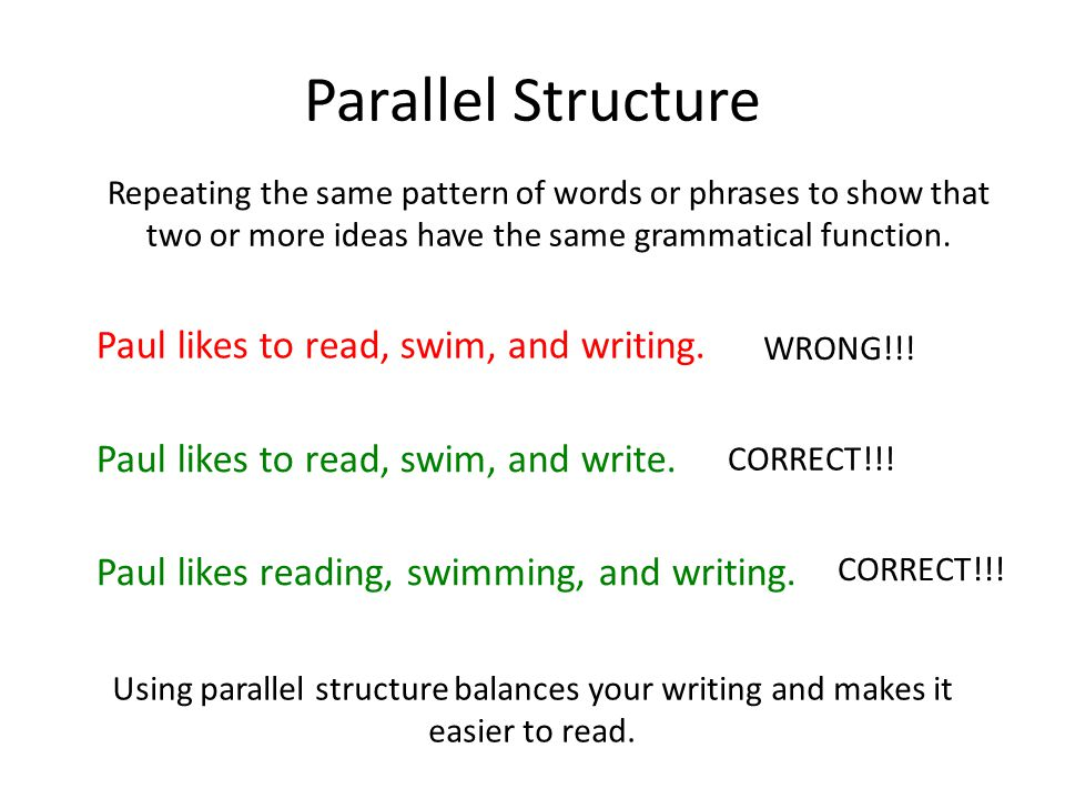 Parallel Structure Repeating the same pattern of words or phrases to show that two or more ideas have the same grammatical function.