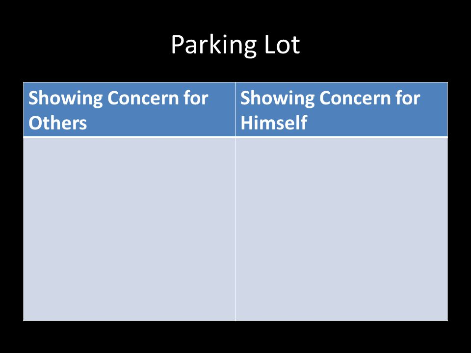 Parking Lot Showing Concern for Others Showing Concern for Himself