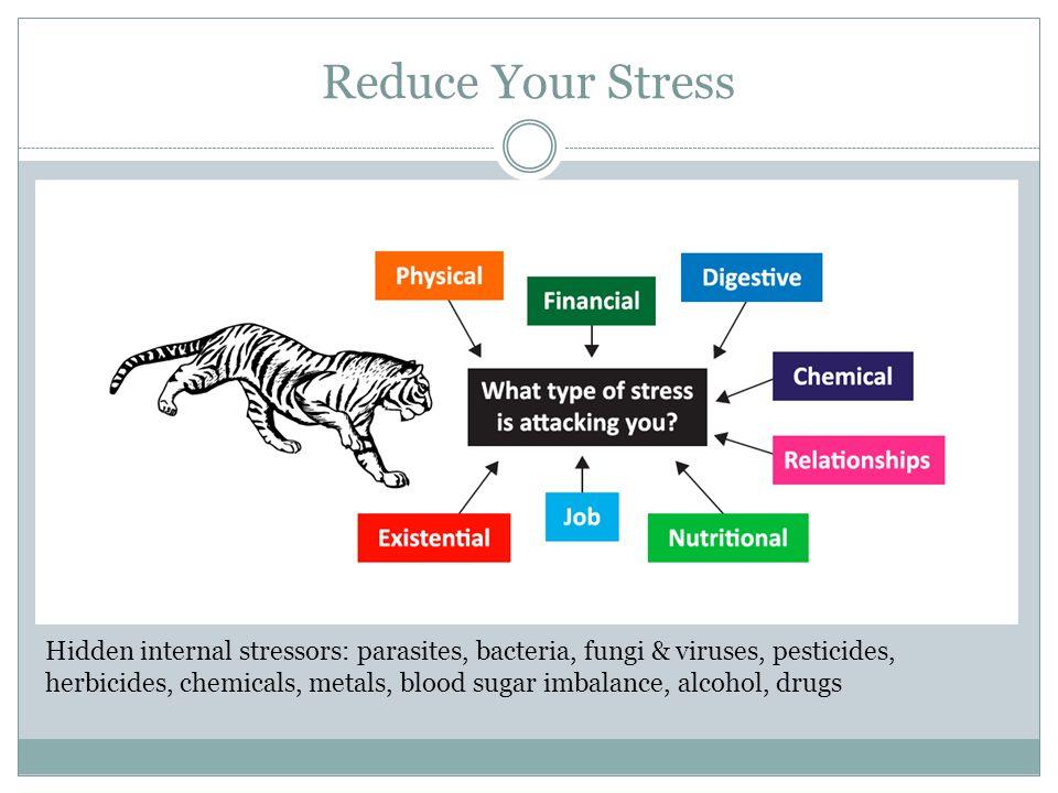 Reduce Your Stress Hidden internal stressors: parasites, bacteria, fungi & viruses, pesticides, herbicides, chemicals, metals, blood sugar imbalance, alcohol, drugs