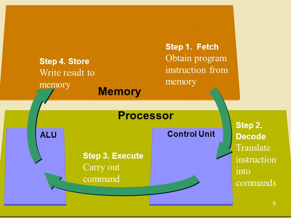 The processor contains registers, that hold data and instructions The processor contains circuits that perform instructions using data 10