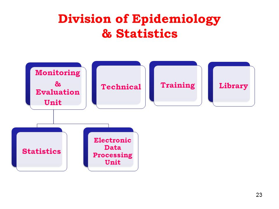 Division of Epidemiology & Statistics 23 Monitoring & Evaluation Unit Statistics Electronic Data Processing Unit Technical Training Library