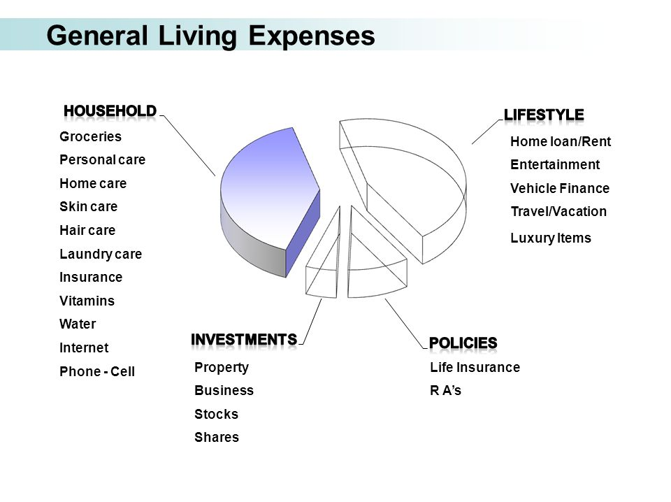 General Living Expenses Home loan/Rent Entertainment Vehicle Finance Travel/Vacation Luxury Items Life Insurance R A's Property Business Stocks Shares