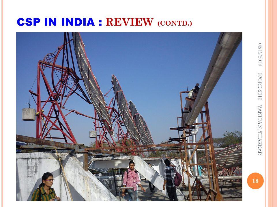 CSP IN INDIA : REVIEW (CONTD.) 02/12/2013 18 ICORE-2013 VANITA N. THAKKAR