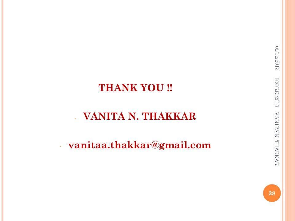 THANK YOU !! - VANITA N. THAKKAR - vanitaa.thakkar@gmail.com 02/12/2013 38 ICORE-2013 VANITA N. THAKKAR