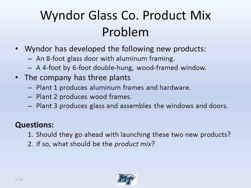 2-14 Wyndor Glass Co. Product Mix Problem Wyndor has developed the following new products: – An 8-foot glass door with aluminum framing. – A 4-foot by