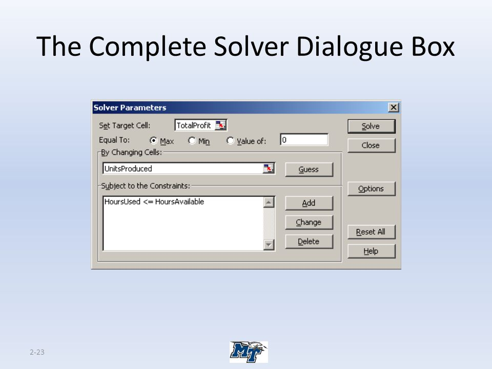 2-23 The Complete Solver Dialogue Box