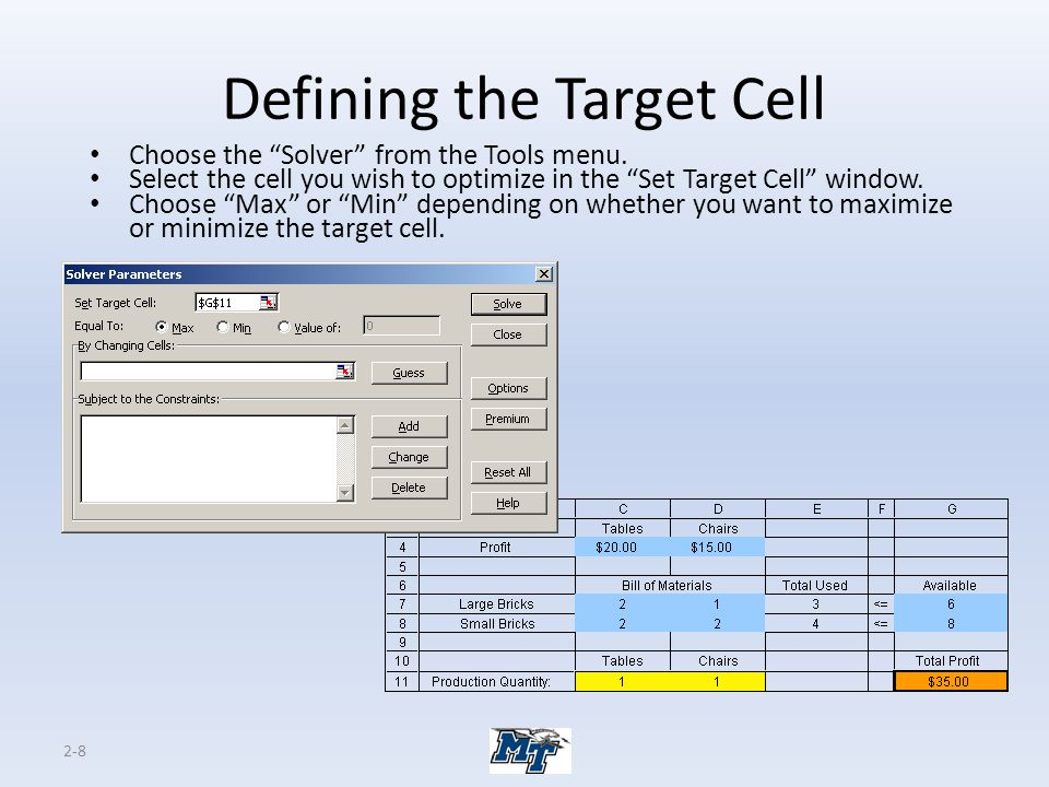 2-9 Identifying the Changing Cells Enter all the changing cells in the By Changing Cells window.