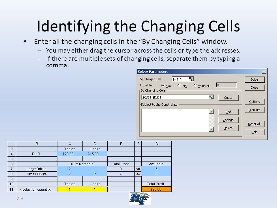 "2-9 Identifying the Changing Cells Enter all the changing cells in the ""By Changing Cells"" window. – You may either drag the cursor across the cells o"