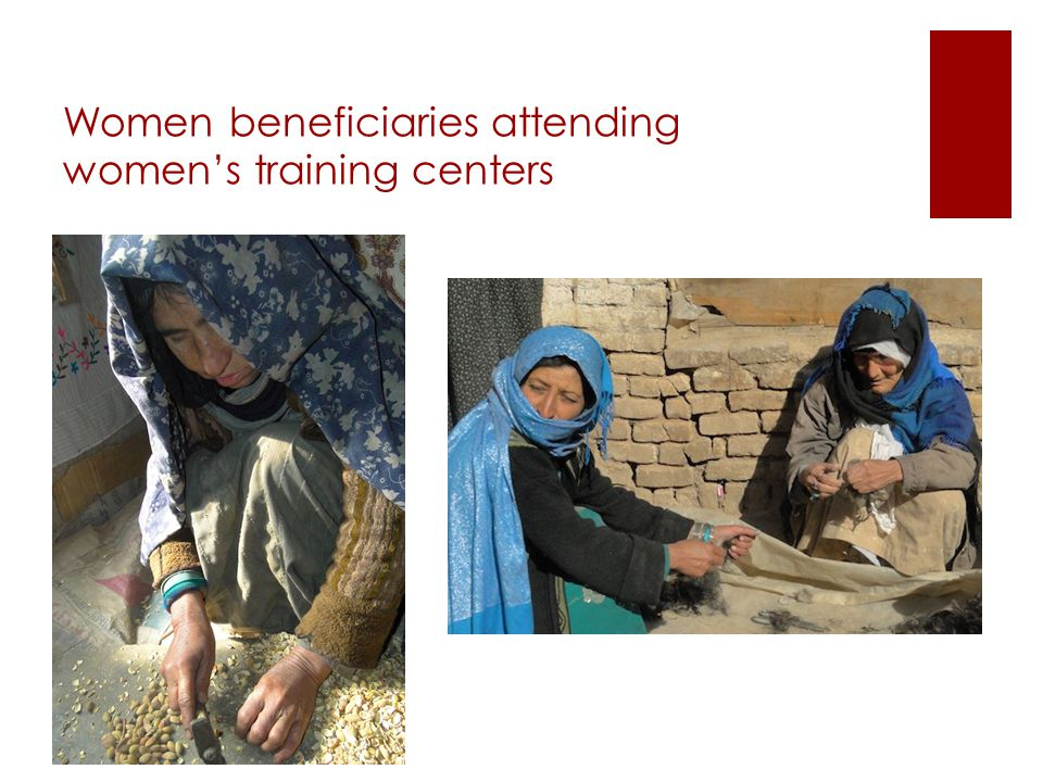 Women beneficiaries attending women's training centers