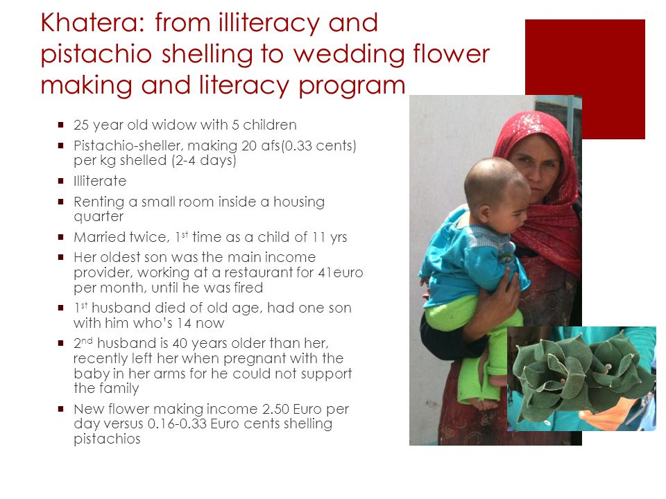 Khatera: from illiteracy and pistachio shelling to wedding flower making and literacy program  25 year old widow with 5 children  Pistachio-sheller, making 20 afs(0.33 cents) per kg shelled (2-4 days)  Illiterate  Renting a small room inside a housing quarter  Married twice, 1 st time as a child of 11 yrs  Her oldest son was the main income provider, working at a restaurant for 41euro per month, until he was fired  1 st husband died of old age, had one son with him who's 14 now  2 nd husband is 40 years older than her, recently left her when pregnant with the baby in her arms for he could not support the family  New flower making income 2.50 Euro per day versus 0.16-0.33 Euro cents shelling pistachios