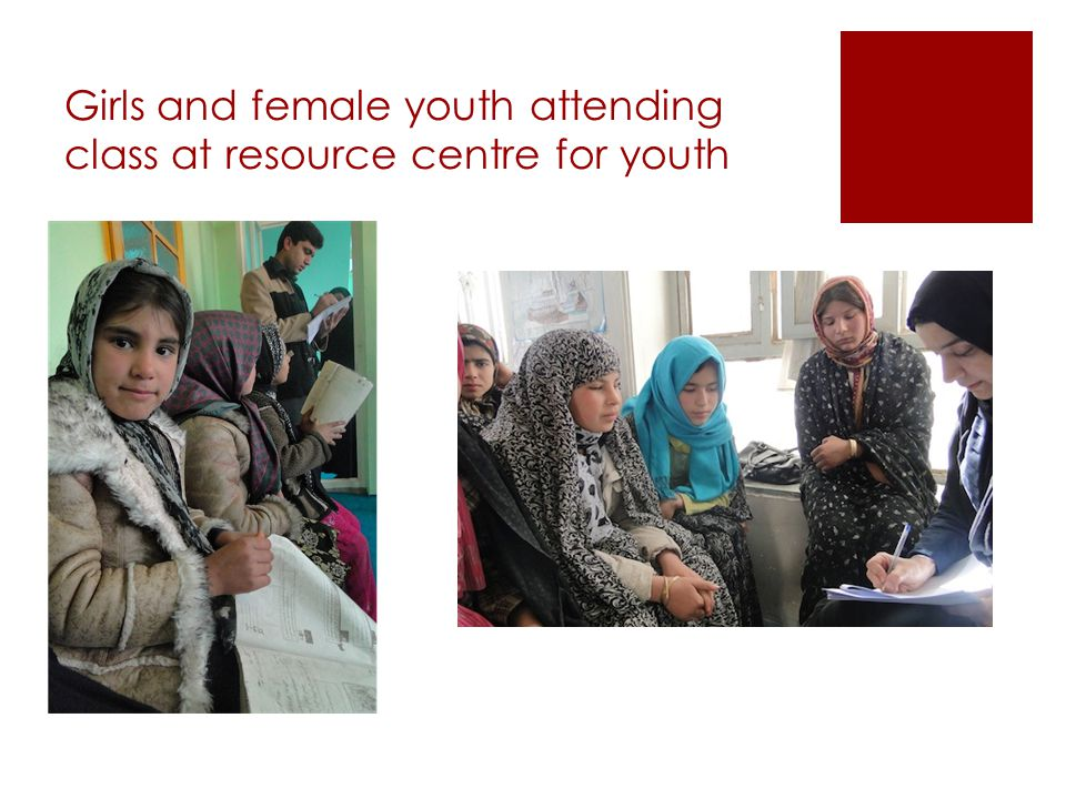 Girls and female youth attending class at resource centre for youth