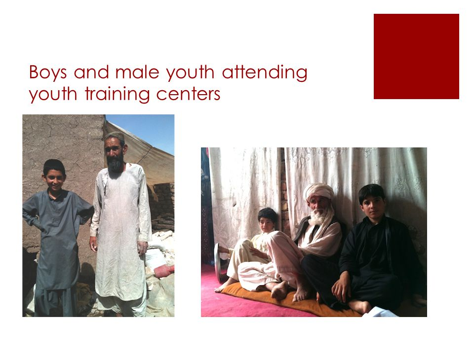 Boys and male youth attending youth training centers
