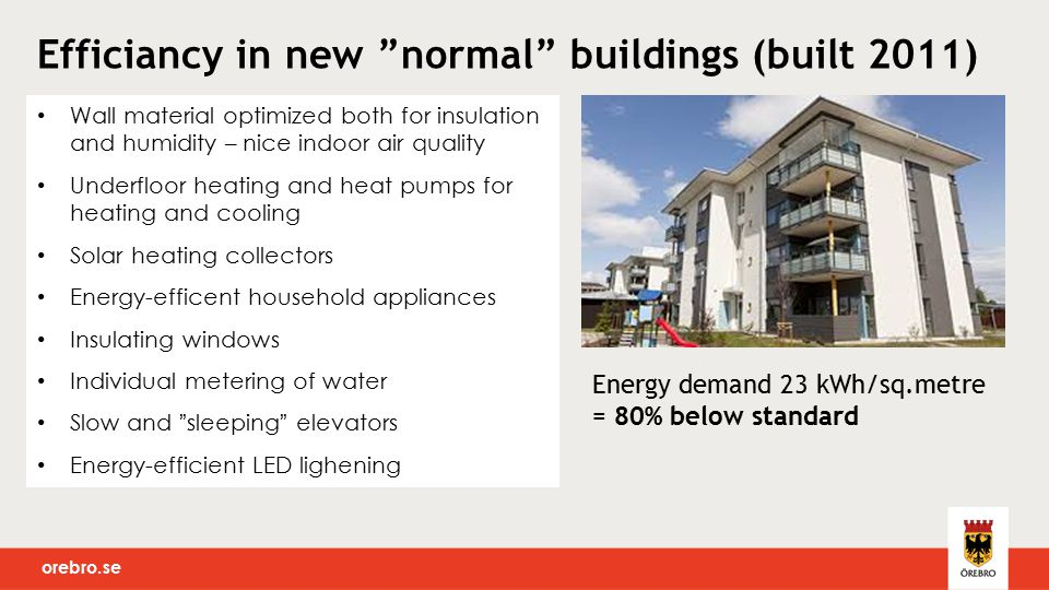 orebro.se Wall material optimized both for insulation and humidity – nice indoor air quality Underfloor heating and heat pumps for heating and cooling