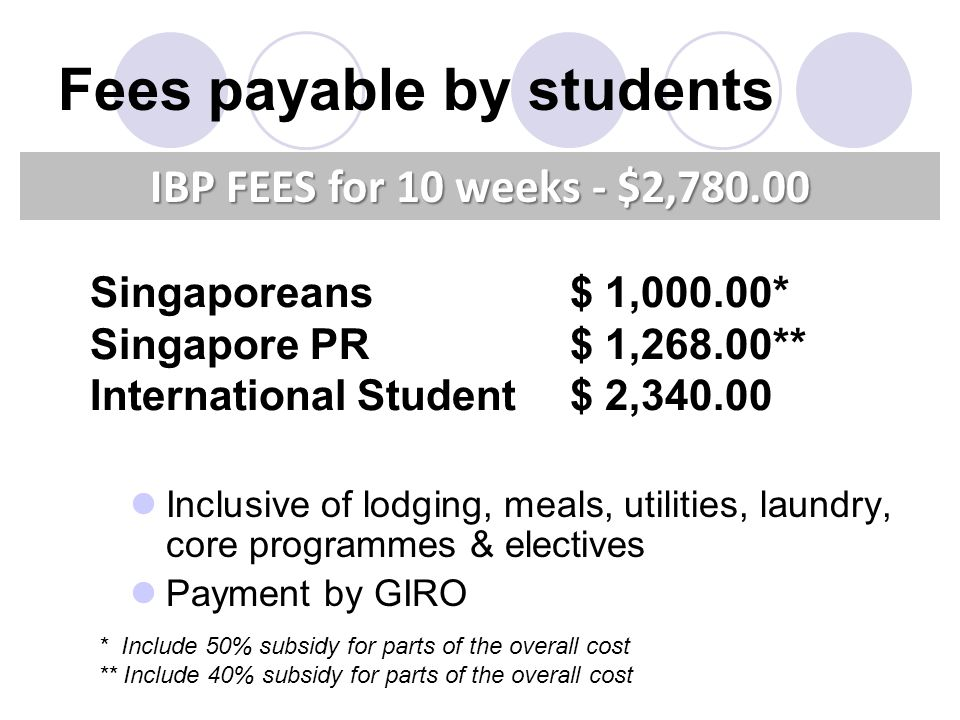 Inclusive of lodging, meals, utilities, laundry, core programmes & electives Payment by GIRO IBP FEES for 10 weeks - $2,780.00 Fees payable by student