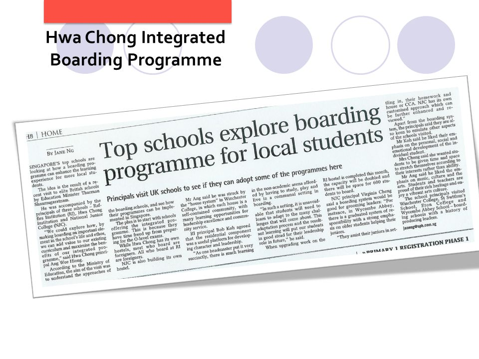 8 Hwa Chong Integrated Boarding Programme